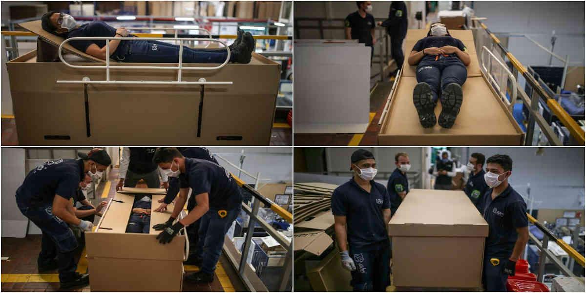 Diseñan camillas de cartón que se convierten en ataúdes para pacientes de Covid-19