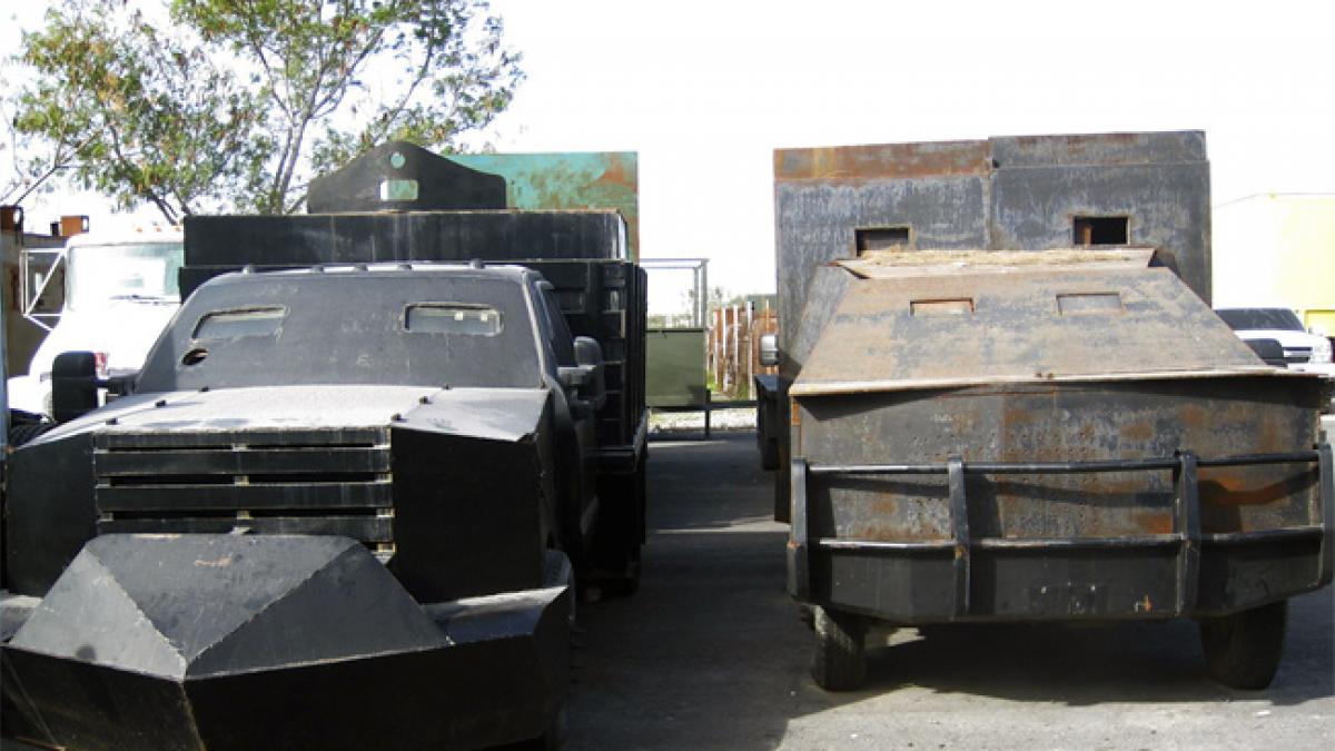"""Aseguran 5 """"monstruos"""" en Tamaulipas; los camiones blindados del narco"""